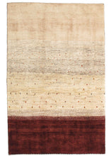 Contemporary Modern Minimal South Persian Lori Gabbeh rug with undyed cream area and also burgundy stripe