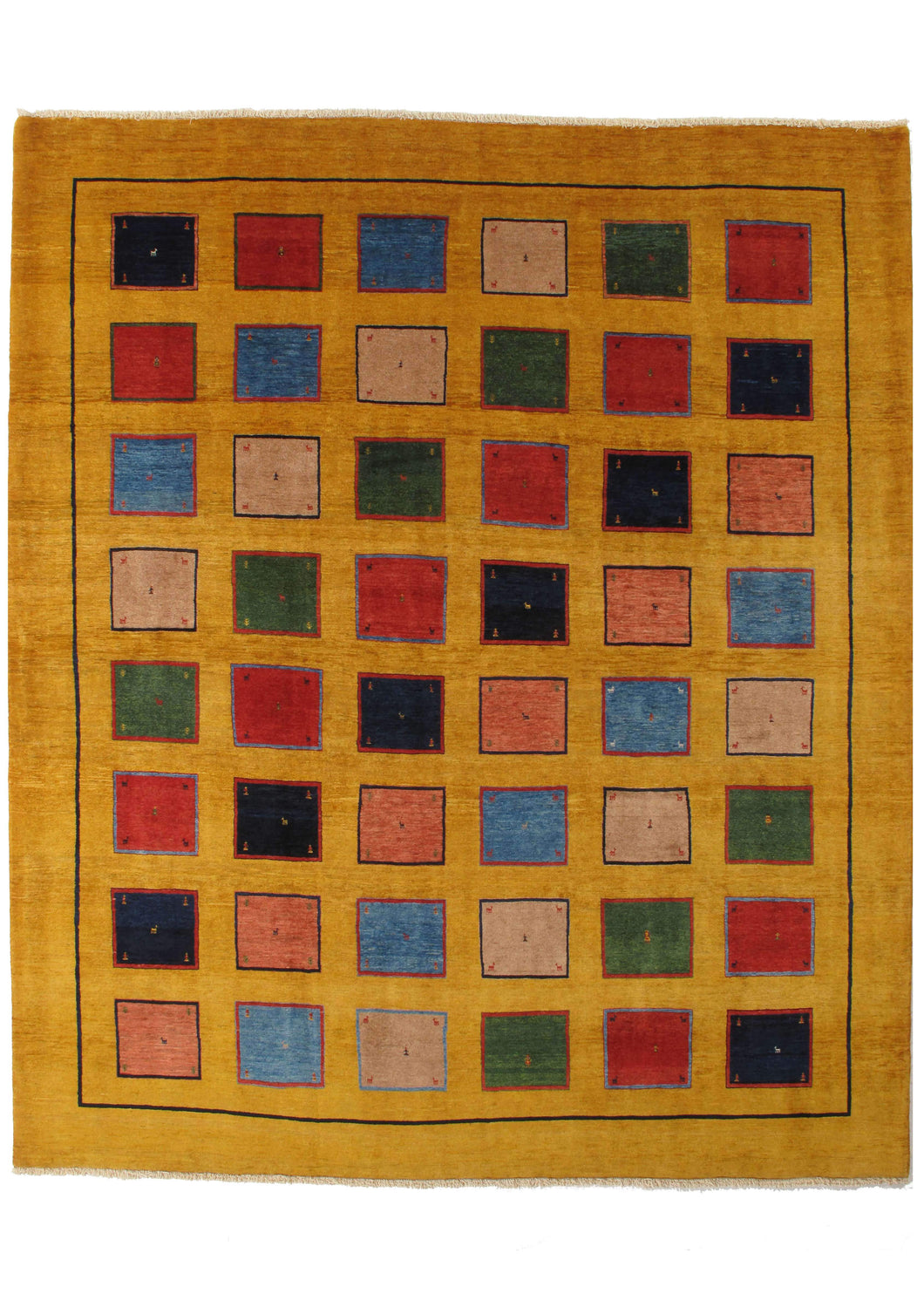Contemporary Modern Colorful YELLOW handwoven South Persian Lori Gabbeh Room size rug with colorful blocks design