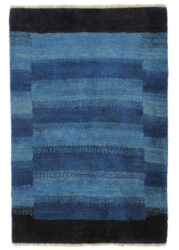 Contemporary Modern Abstract blue and black South Persian Lori Gabbeh Rug
