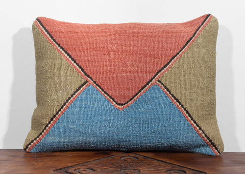 Christian Rathbone designed Turkish  handwoven naturally dyed pillow with envelope design in peach, olive and indigo pale blue