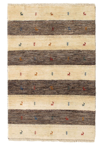 Contemporary Neutral Natural Handwoven Modern South Persian Lori Gabbeh Rug with dark brown and cream stripes and small animals and plants