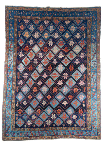 Persian Malayer Rug, perfect condition with blue diamond allover pattern, beautiful indigo blue abrash throughout