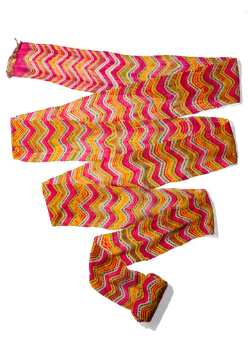 Rajistani Lehriya Turban, long cotton flat woven textile with wave design in magenta, yellow and green dots