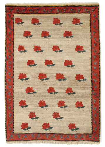 Vintage red rose handwoven South Persian Lori Gabbeh Area Rug