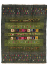 Contemporary Modern Green Colorful Handwoven South Persian Area Rug featuring small woven animals and plants