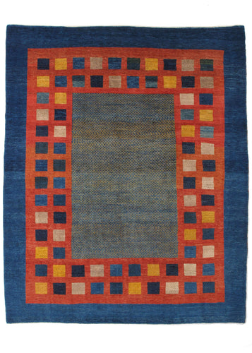 Contemporary Modern Colorful Handwoven South Persian Gabbeh Area Rug with blue border and red border with colorful boxes