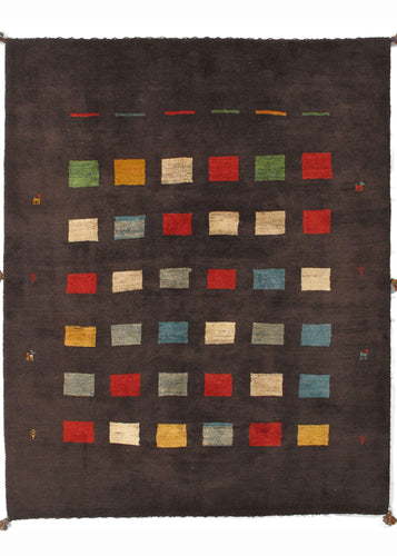 Contemporary Modern Minimal South Persian Lori Gabbeh Area Rug with brown field and blocks of primary colors