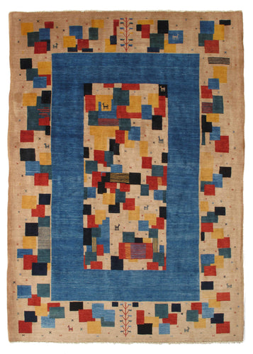 Contemporary Playful Modern Handwoven South Persian Gabbeh Room Size Rug