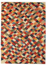 Contemporary Abstract Modern Handwoven South Persian Lori Gabbeh Rug with rainbow lattice like design