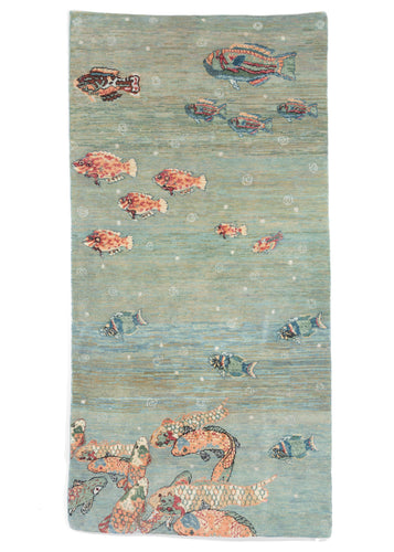 South Persian Fish Gabbeh Scatter Rug