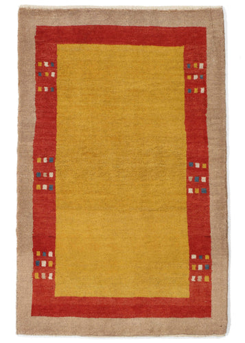 Contemporary Modern Minimal Yellow and Red South Persian Lori Gabbeh Scatter Rug