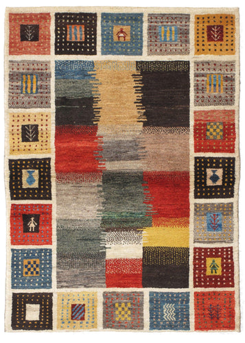 Contemporary Modern Busy South Persian Lori Gabbeh Scatter Rug