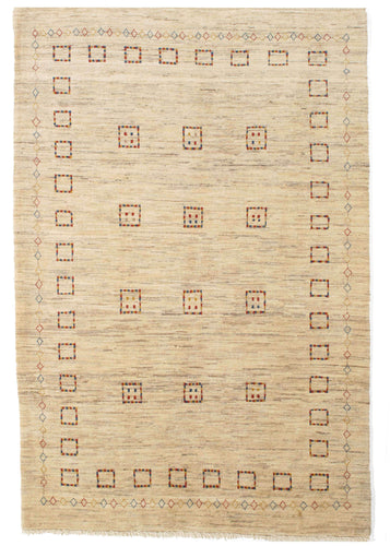 Contemporary Modern Minimal Handwoven South Persian Gabbeh Area Rug with colorful boxes