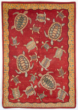 South Persian New wool rug with turtles swimming over a madder red field