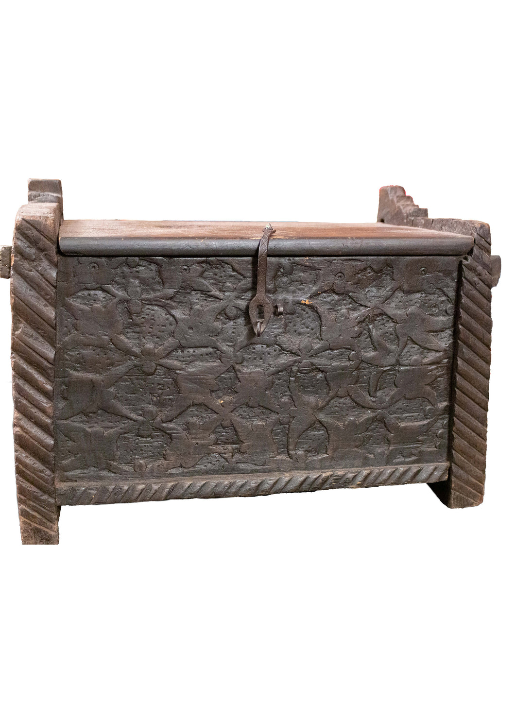 Vintage Swat Valley hand-carved wooden chest with a soft floral design and plain back and sides. In very good condition.