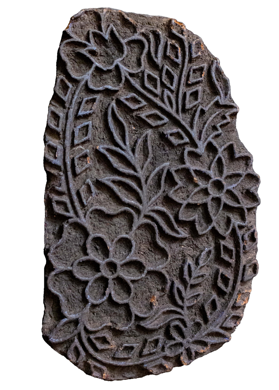 Vintage hand-carved textile stamp with a complex boteh design. In good vintage condition, please note there might be some dye residue on the stamp.