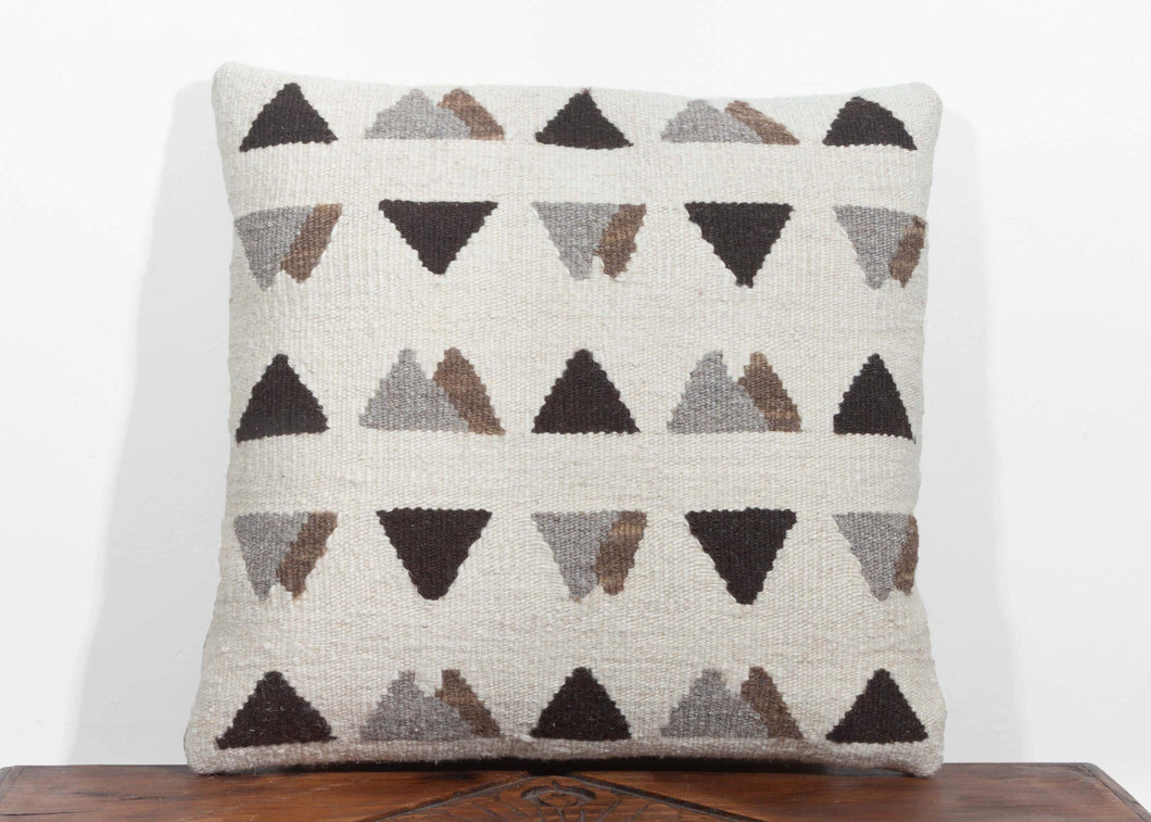 Christian Rathbone handwoven Turkish square naturally dyed wool pillow