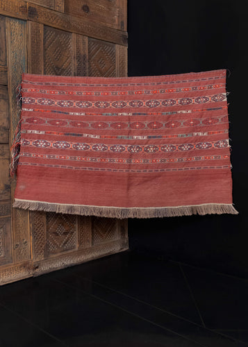 Vintage handwoven Turkmen sumak kilim from C Asia.  This rug features a striped banded design of geometric shapes on a wine red field.   In very good condition, signs of wear consistent with age. Flatwoven, with sumac embellishments.