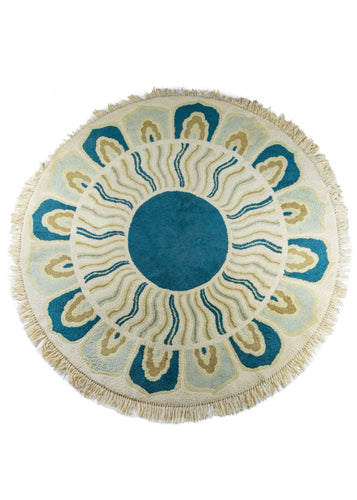Mid Century Indian Round Flower Rug
