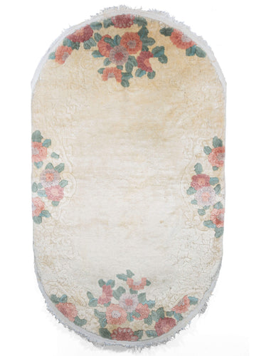 Vintage Oval Carved Cream Chinese Art Deco Rug with Flowers