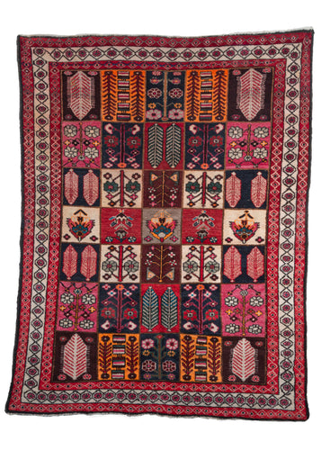 Vintage South Persian Bakhtiari Garden Rug with bright colors and lush pile