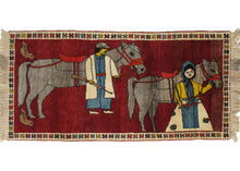 Vintage South Persian Pictoral Gabbeh Rug featuring man, woman and two horses