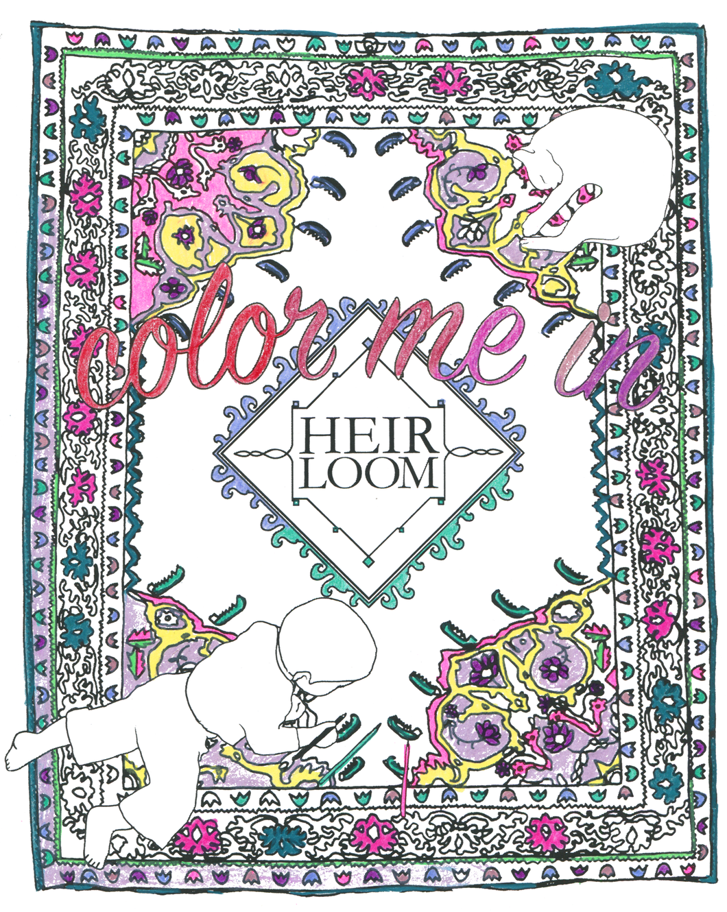 Rug Coloring Book - printable pdf