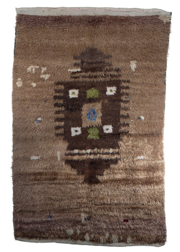 Mid Century Handwoven Turkish Tulu shag rug sheep