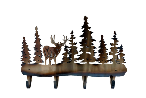 Coat Rack Metal Deer with Trees 4 Hook