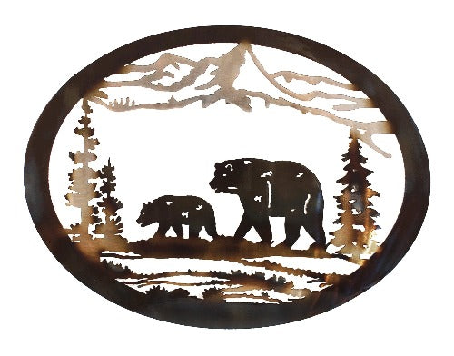 Bear Oval Metal Wall Art