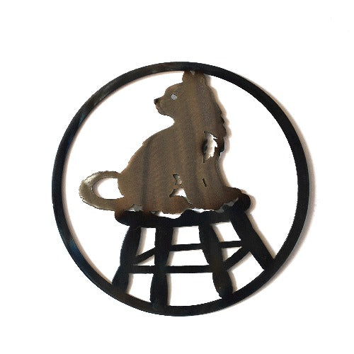 Cat on a Stool Circle Art