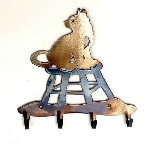 Cat on Stool Key Rack