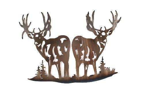 Deer Back to Back Metal Wall Art