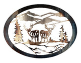 Deer Back to Back Oval  Metal Wall Art