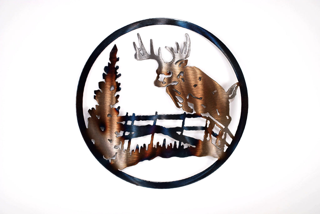 Deer Jumping Fence Circle Art