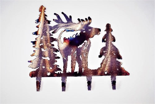 Elk With Trees Key Rack