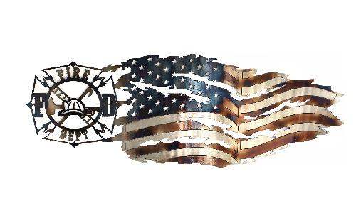 Firefighter - Vintage Symbol with Tattered Flag Wall Art