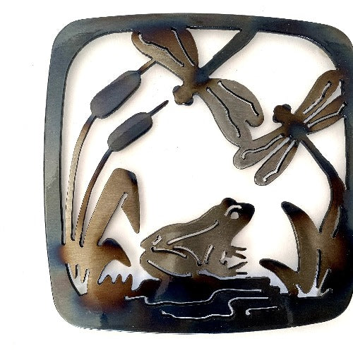 Frog With Dragonflies Trivet