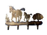 Horse and Colt 4-Hook Coat Rack