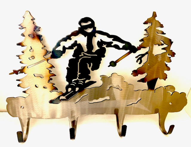 Skier 4 Hook Coat Rack