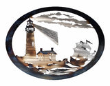 Lighthouse with Ship Oval Wall Art