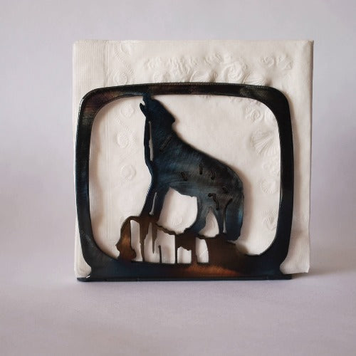 Wolf Howling Large Napkin Holder