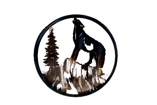 Wolf Howling Circle Art