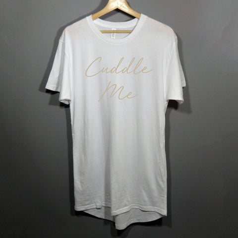 Women's sleep shirt with cuddle me on it