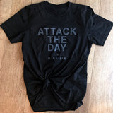 attack the day, be a shark shirt, distressed black shirt, vintage shirt, shark shirt