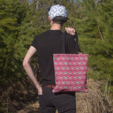 Eco canvas tote bag durable pink cute skull pattern
