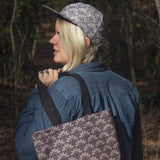 Purple eco friendly canvas tote bag bone patterned