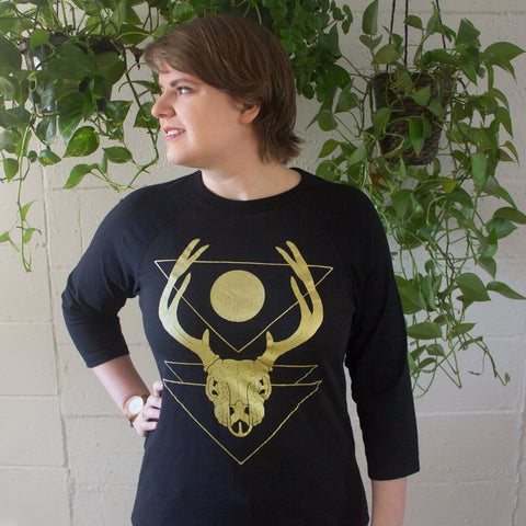 Golden Deer Skull Baseball T-Shirt