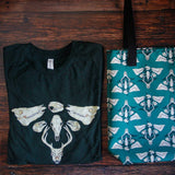 Unisex sized Bella + Canvas t shirts in tri-blend emerald green
