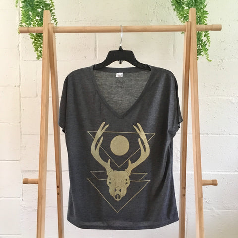 Charcoal Flowy Deer Skull Ladies T-Shirt